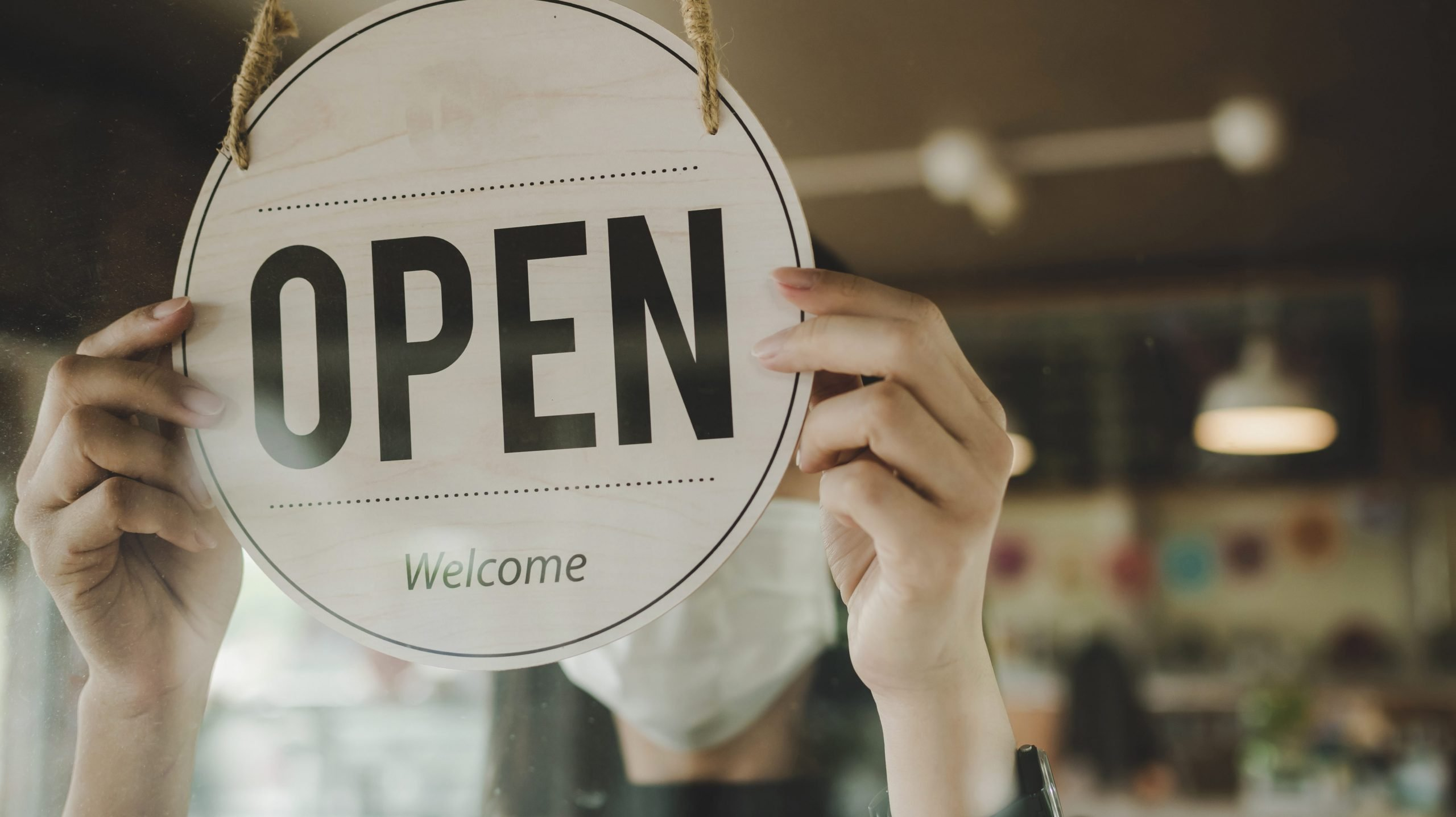 Back to work - open sign